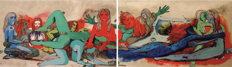 DAS ERSTE ABENDMAHL MIT MUSEN & NYMPHEN. Zürich   2013   Acryl, Aquarell & Öl auf Holz   107 x 374 cm