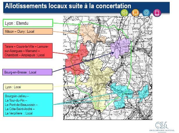 Multiplex locaux, Lyon, Bourg-en-Bresse, Bourgoin-Jallieu, Tarare, Mâcon