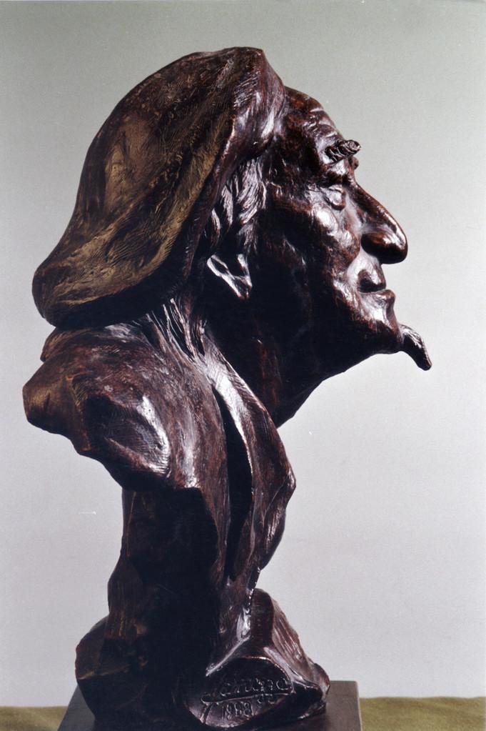 Ritratto di GIUDA (Collega d'arte). Terracotta patinata 25x25x50