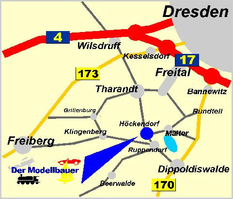 Anfahrt-Skizze zum Ladengeschäft von Der Modellbauer in Höckendorf