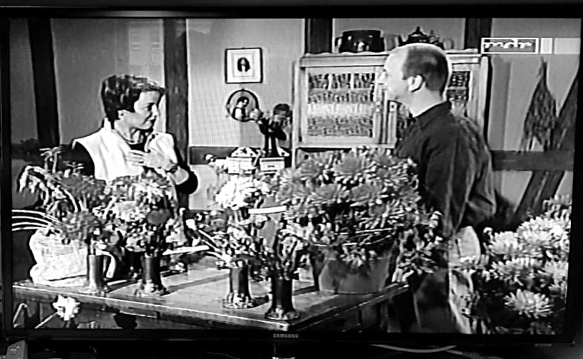 """(l.) Die Moderatorin Claudia Look-Hirnschal (1962-2018) mit Dirk Panzer (r.) zur Taufe ihrer Dahlie in ihrer Gartensendung """"MDR Garten"""" im Jahr 2003"""