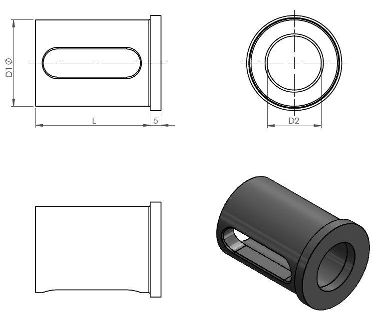 Technische Zeichnung Reduzierhülse Langloch