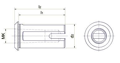 Technische Zeichnung Morsekegel-Aufnahme
