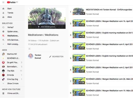 Abbildung der Übersicht kostenfreier Online-Meditations-Angebote auf Youtube