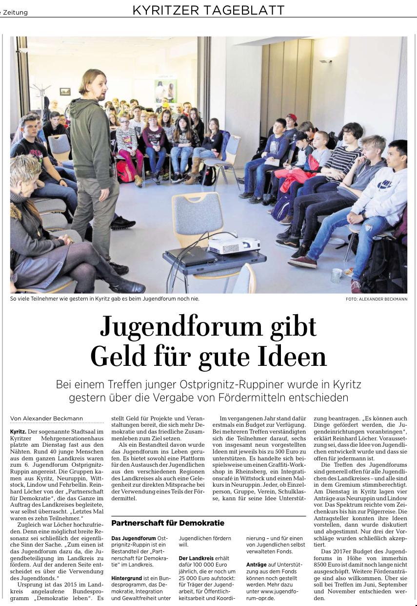 Jugendforum gibt Geld für gute Ideen - Zeitungsartikel MAZ - Kyritzer Tageblatt am 22.02.2017