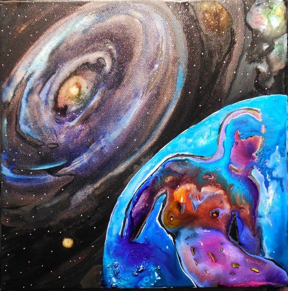 Encre/acrylique fluorescents. La galaxie d'Andromède (M31) avec deux satellites : M32 (disque nébuleux au bord supérieur droit), et M110 (petite galaxie elliptique en dessous de M31) vu de la Terre.
