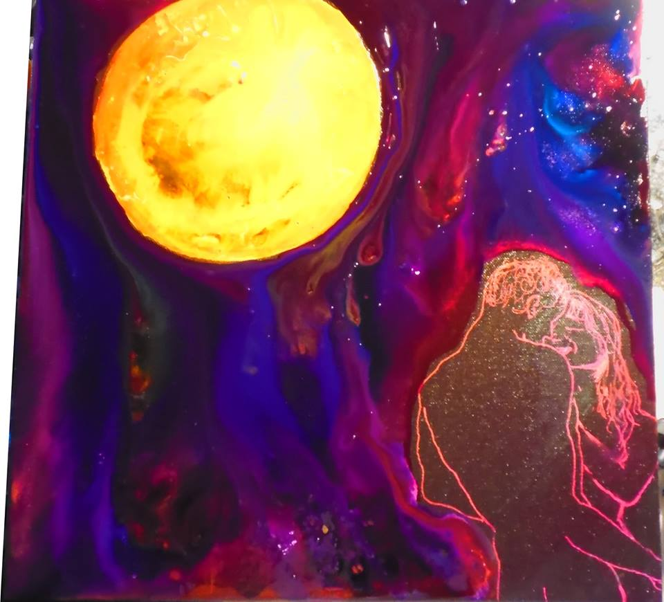 Antares est en amour Acrylique fluo et Encre Di Vittoria Maggi
