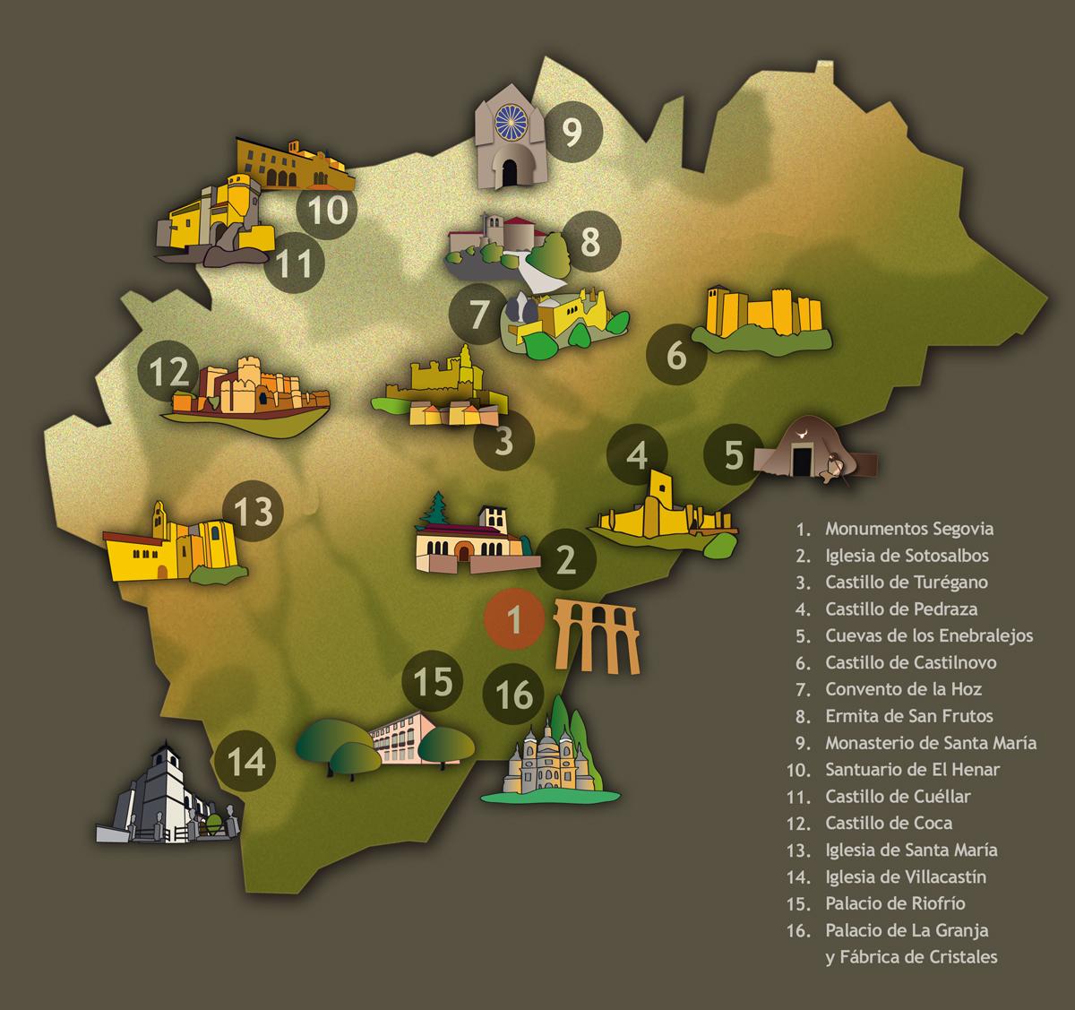 Provincia De Segovia Mapa.Monumentos De Segovia Y Provincia Segovia Un Buen Plan