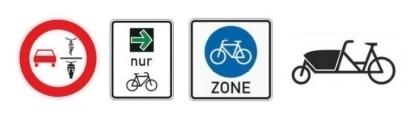 die neueingeführten Verkehrszeichen zu Fahrradfahrern