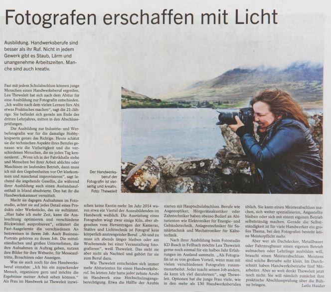 Lea Theweleit Focus F Stuttgarter Zeitung Fotografen erschaffen mit Licht