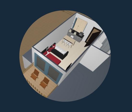 Distribución de espacios de cada monoambiente. Ideal para 2 pers., max 3.