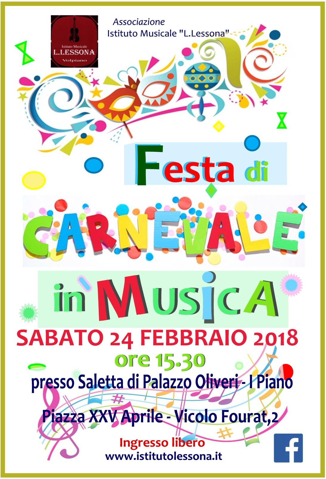 Festa di Carnevale,  sabato 24 febbraio Saggio degli allievi - in sede