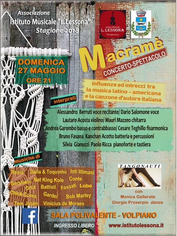 Macramè, concerto-spettacolo 27 maggio 2018 Volpiano