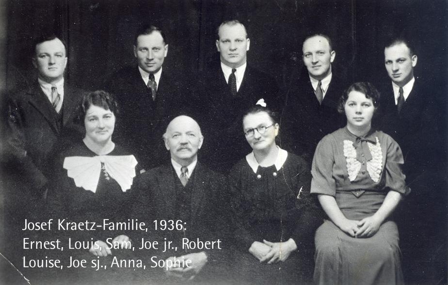 Josef Kraetz-Familie, 1936: Ernest, Louis, Sam, Joe jr., Robert, Louise, Joe sj., Anna, Sophie. Louise, Sophie und Joe jr. waren wie ihr Vater sehr musikalisch. Joe sj. spielte Klavier und Zither.