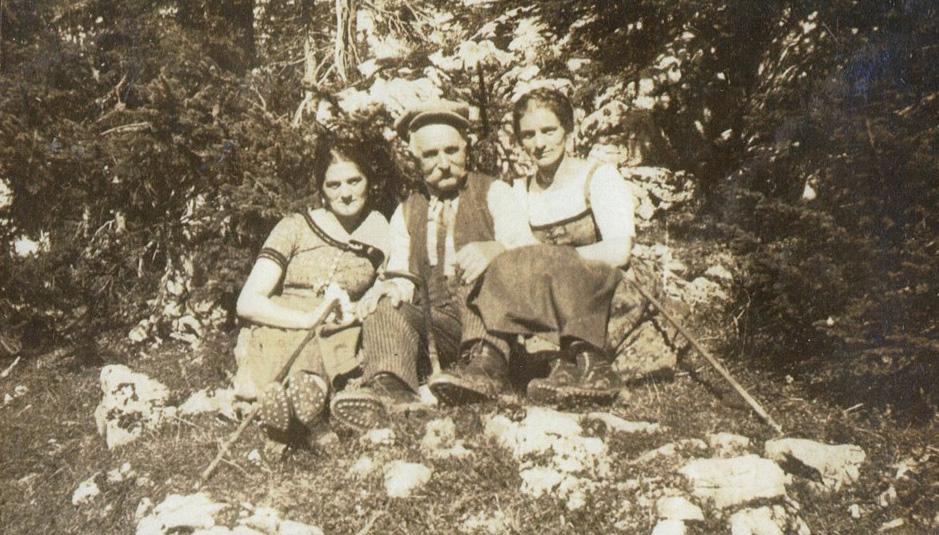 Max Eitzenberger - Besuch in der Heimat 1925: Anna Bartl, Max Eitzenberger, Kathi Bartl