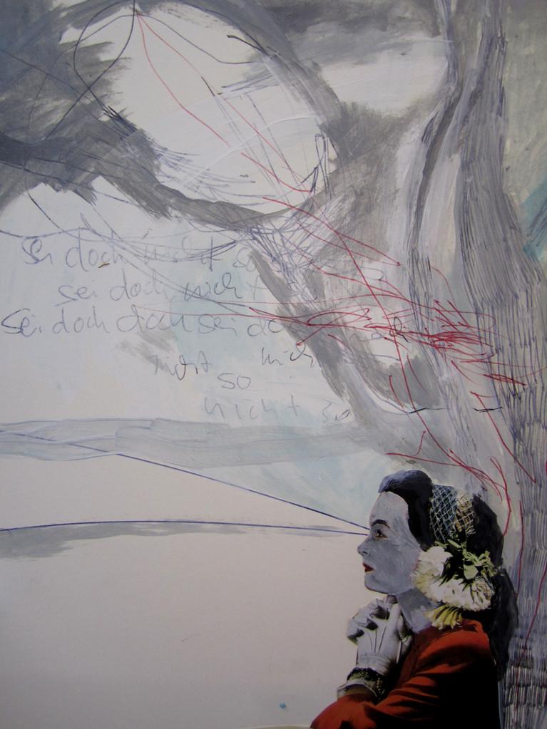 *seidochnichtso*, zeichnung und collage auf papier, ca.21x30 cm