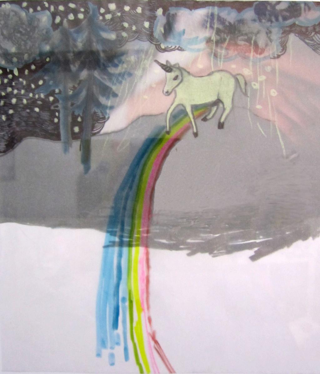 *rainbowlove*, collage und zeichnung auf papier, ca. 22x22 cm