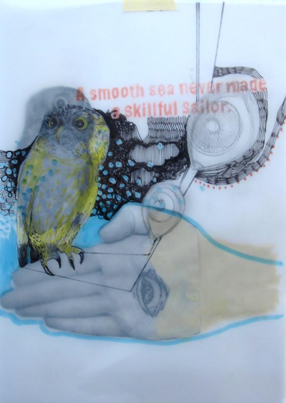 *roughsea*,  collage und zeichnung auf papier, ca. 21x30 cm