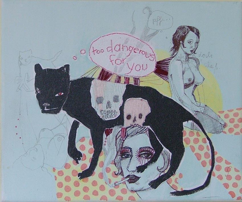 *dangerous*, acryl und stickerei, ca. 30x20 cm, 2007