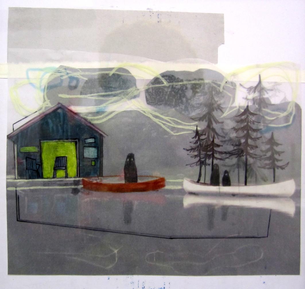 *inyourboat*,  collage und zeichnung auf papier, ca. 22x22 cm