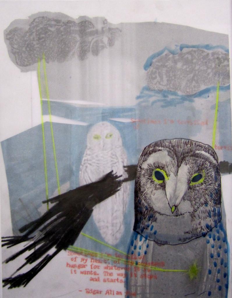 *terrified* collage und zeichnung auf papier, ca. 21x30 cm