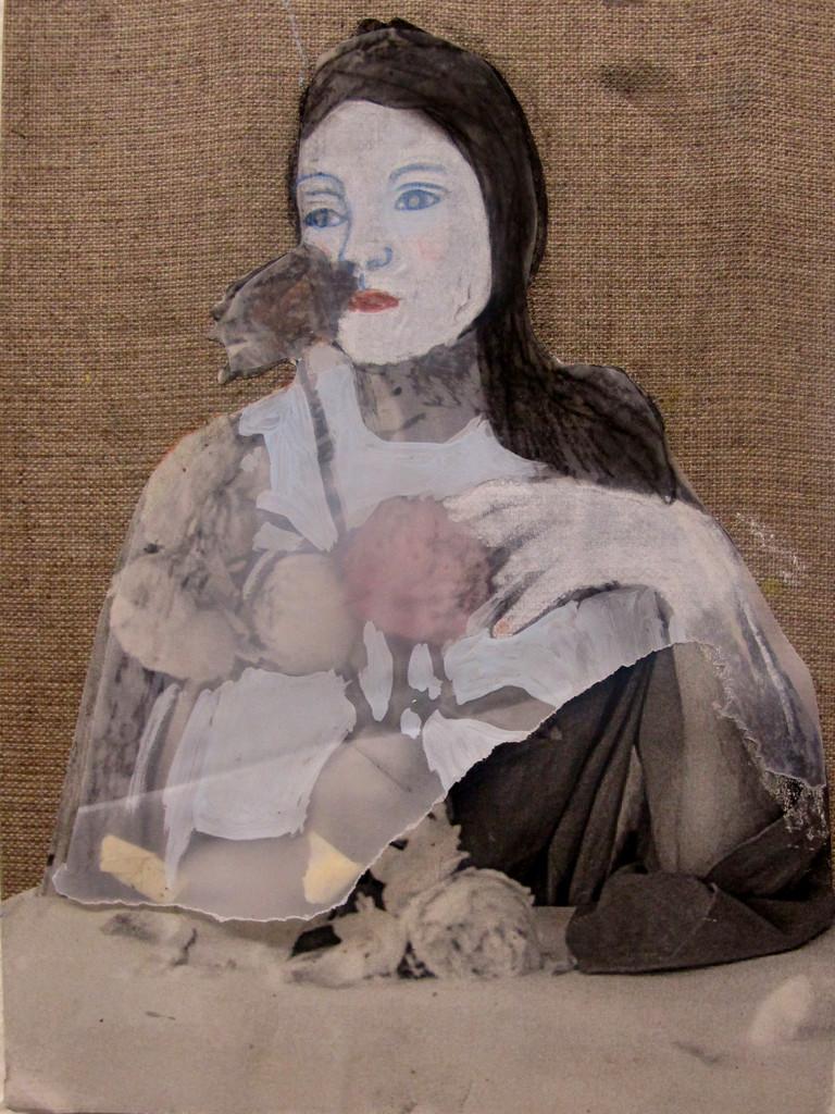 *vivienne*, acryl und collage auf malplatte, ca. 21x28 cm