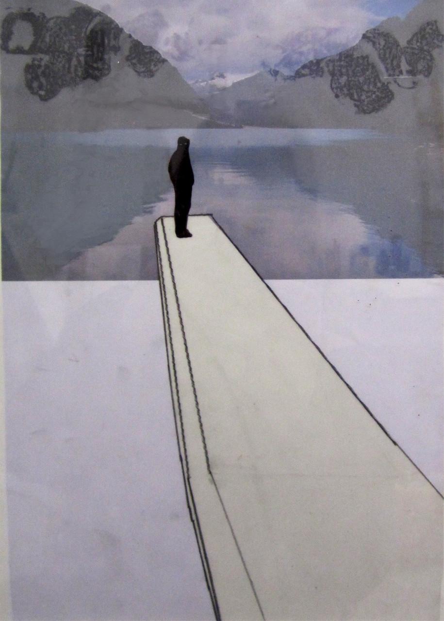 *silence*, collage und zeichnung auf papier, ca.21x27 cm