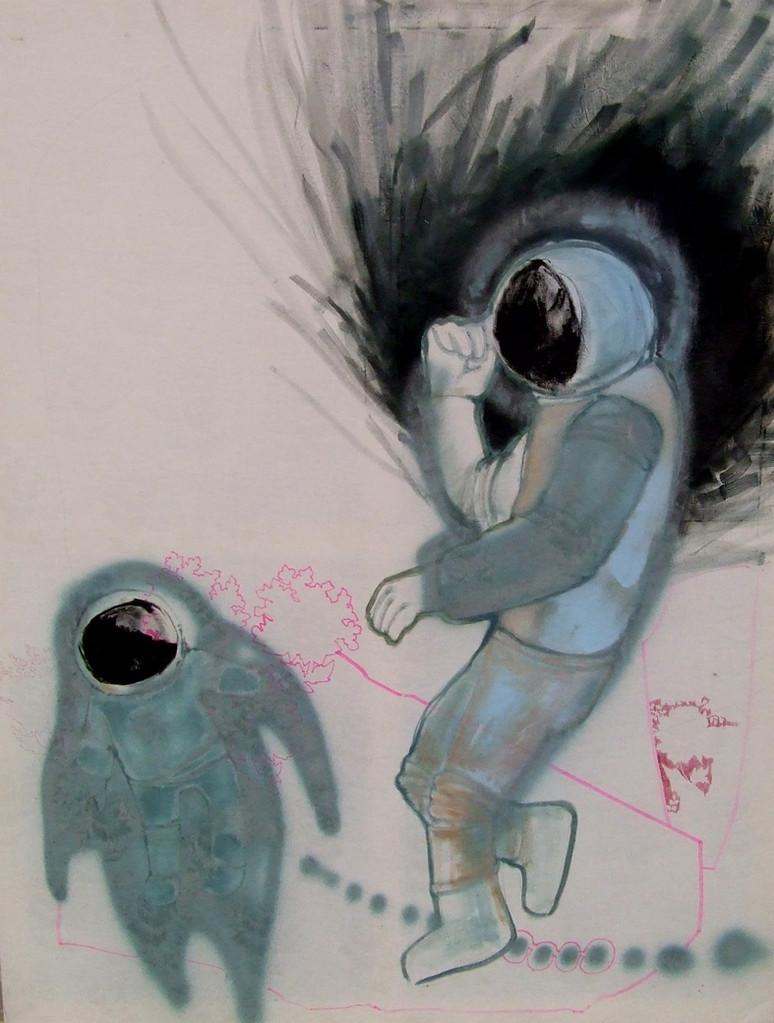 *spacelove*, acryl und lack auf stoff, ca. 100x140 cm