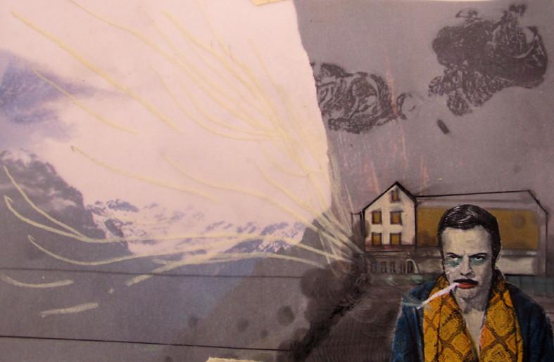 *berghütte*, collage und zeichnung auf papier, ca. 15x11 cm