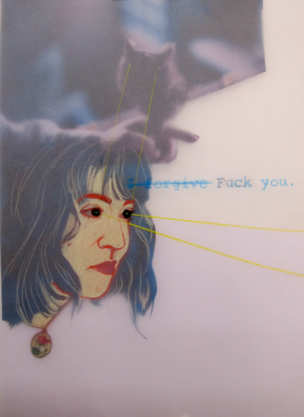 *iforgive*, collage und zeichnung auf papier, ca. 21x30 cm
