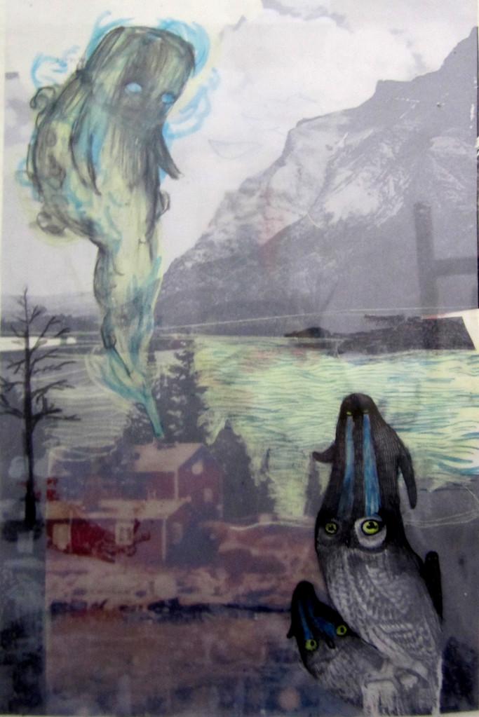*ghost*,  collage und zeichnung auf papier, ca. 18x33 cm