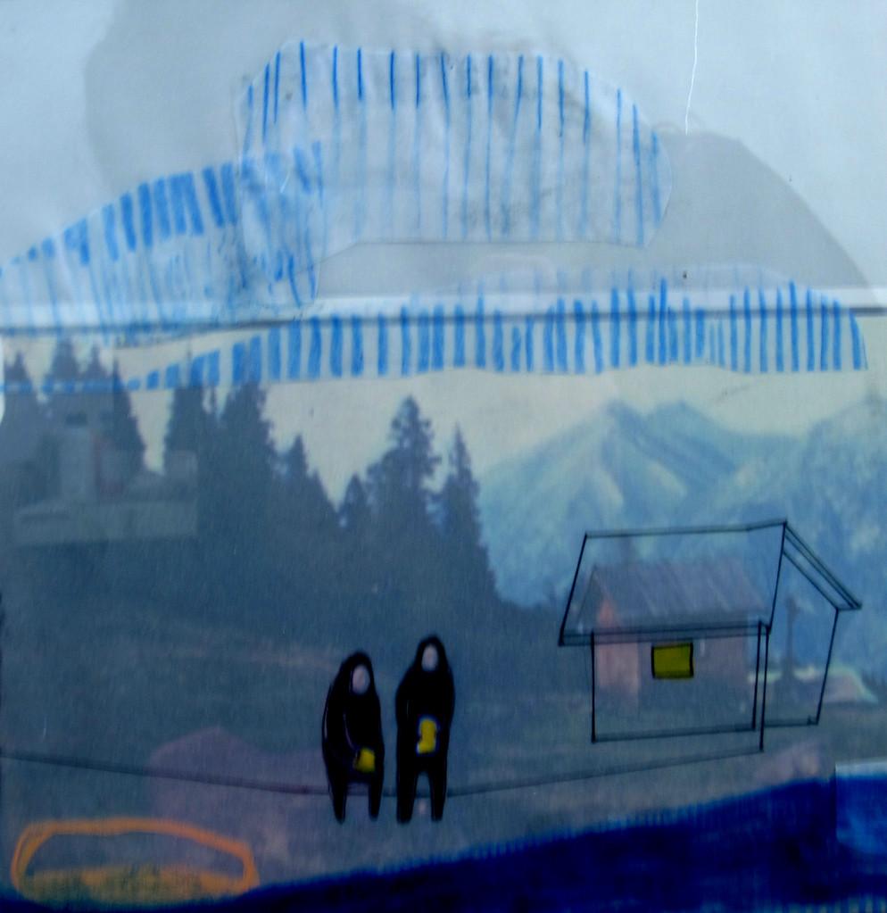 *berghütte 4*, collage und zeichnung auf papier, ca. 22x22 cm