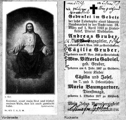 Kein anderer als Lorenz Schlittenbauer hatte Grund dazu, auf diesem Sterbebildchen seinen Frust gegenüber Andreas Gruber zum Ausdruck zu bringen