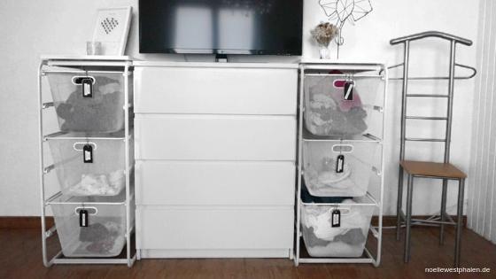 Wäsche Wäschesystem System Kommode Fernseher Stuhl Herrendiener Schubladen Körbe Wäschekörbe Schienen Bild Bilderrahmen Blumen Blumenstrauß Hochzeitsstrasß