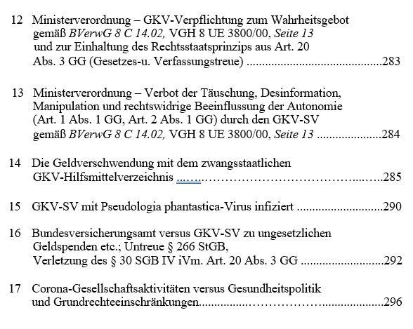 Inhaltsverzeichnis 3.1 - 2. Auflage. Das GKV Lügen und Rechtsbruch Kartell in der der deutschen Staatsverwaltung
