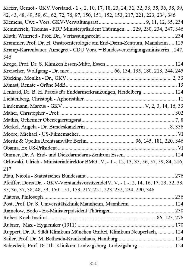 Personenregister 2 - Das GKV Lügen und Rechtsbruch Kartell in der der deutschen Staatsverwaltung