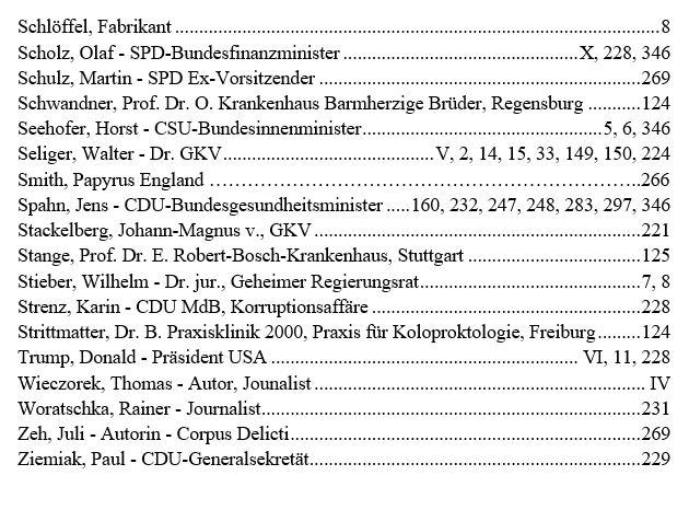 Personenregister 3 - Das GKV Lügen und Rechtsbruch Kartell in der der deutschen Staatsverwaltung