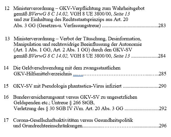 Inhaltsverzeichnis 3.1 - Das GKV Lügen und Rechtsbruch Kartell in der der deutschen Staatsverwaltung