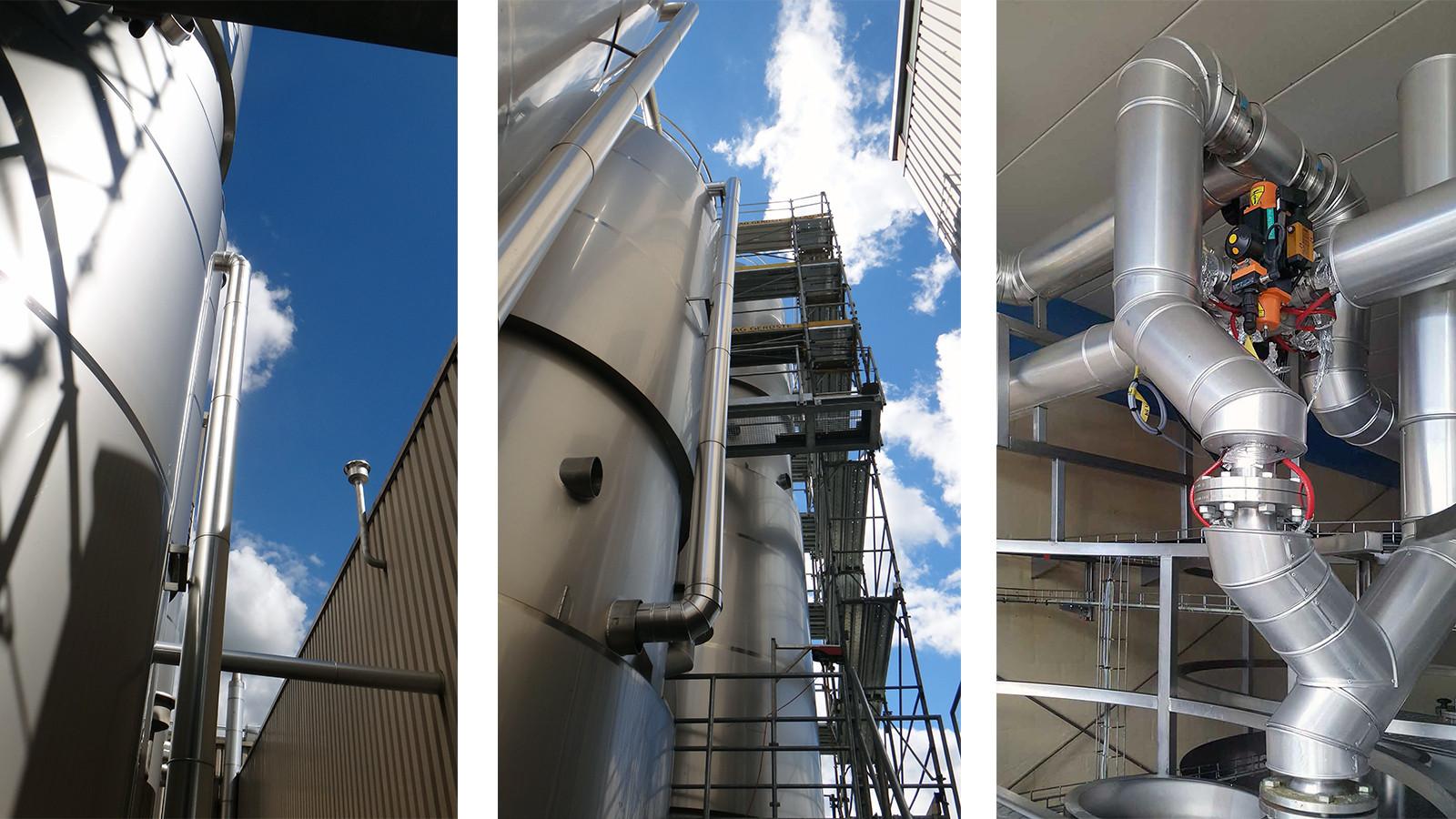 Tank- und Fernwärme-Heizungs und Produkteleitungen (3 km lang) sowie rechts eine wärmegedämmte Tankbefüllungsanlage gegen Eindickung des Öls