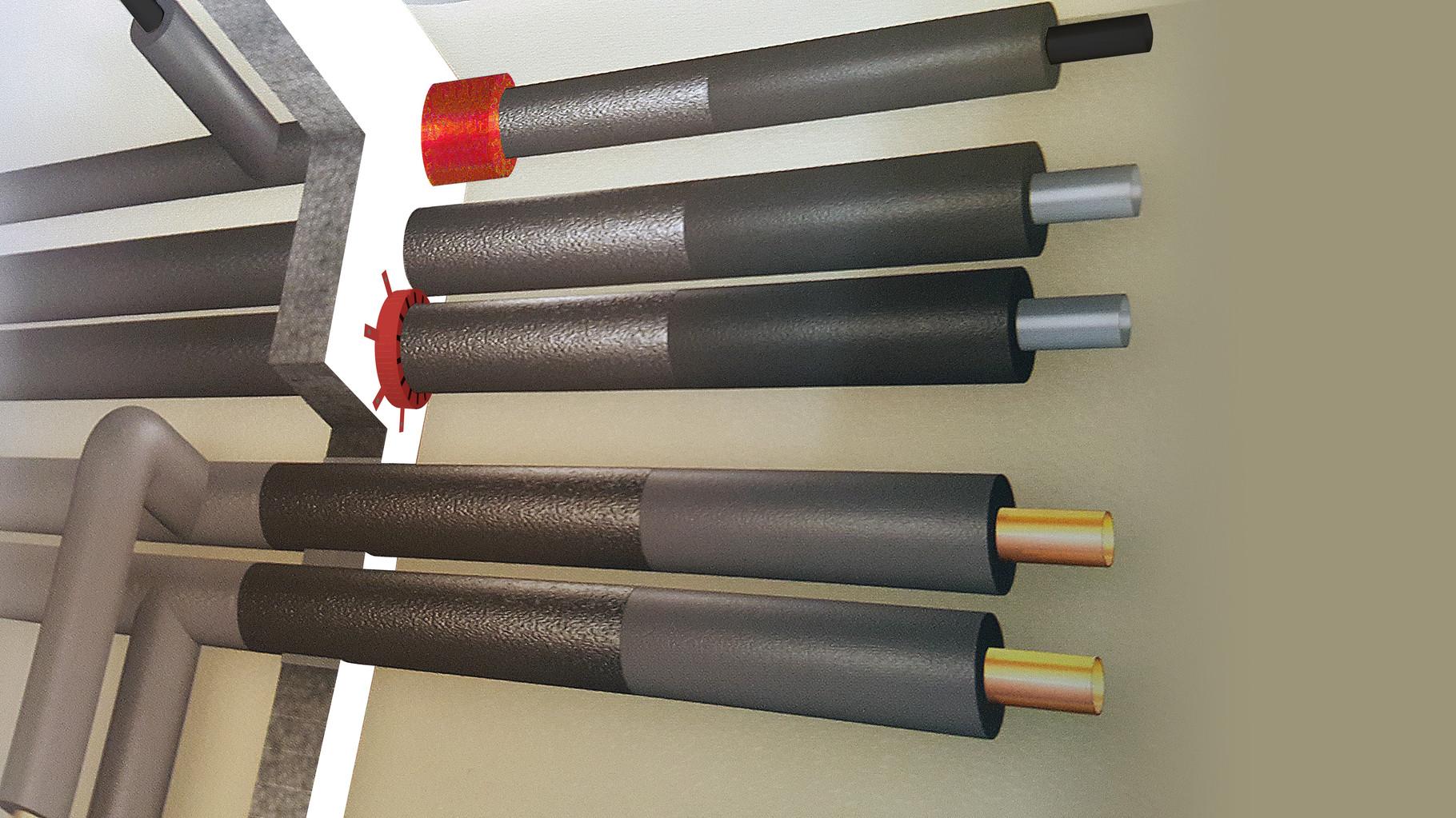 Brandschutzaufbau vertikal und horizontal mit PROTECTOR R90 durch Schott geführt für sämtliche Metallrohre