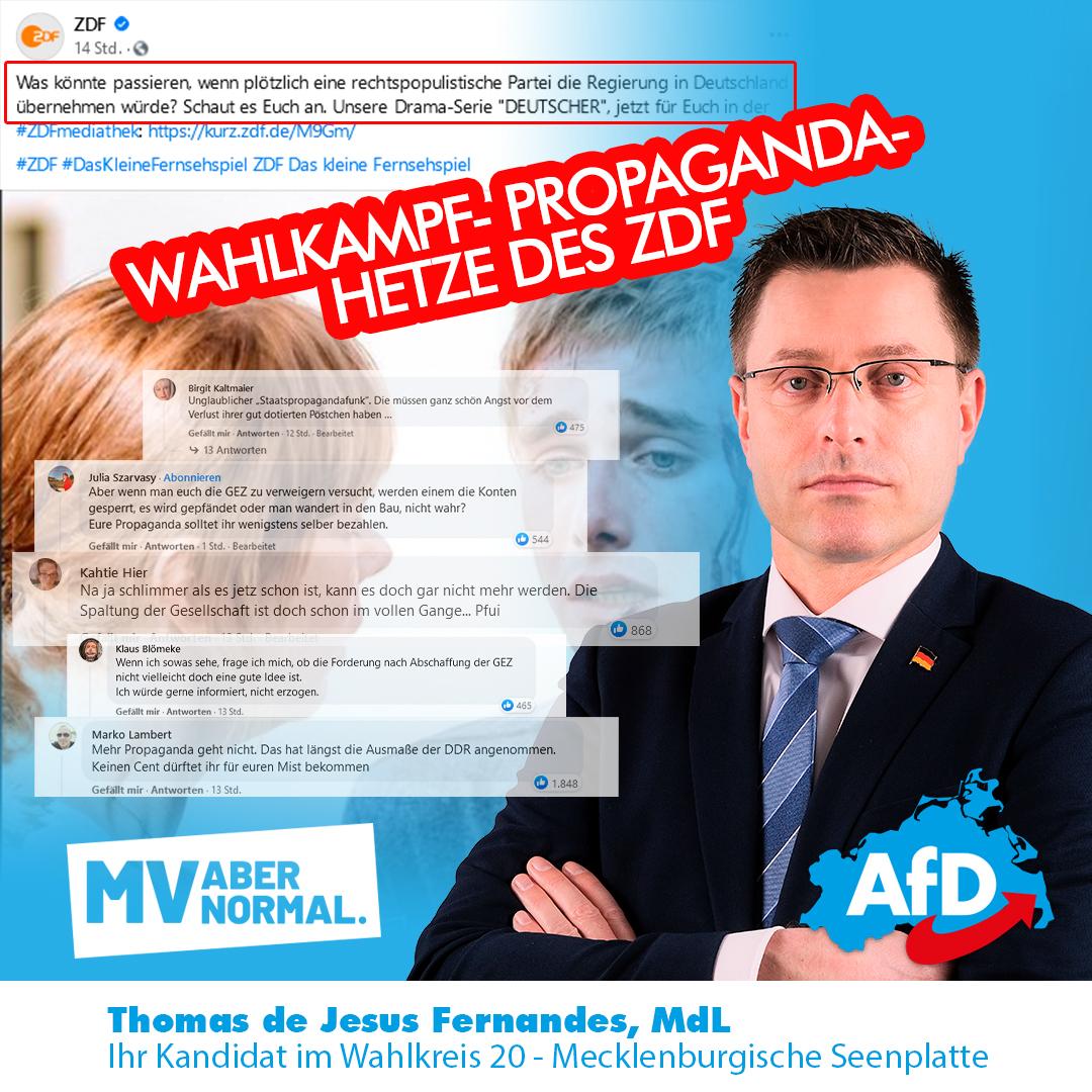 +++ Zwangsfinanzierte ZDF Staatspropaganda soll Wähler abschrecken +++