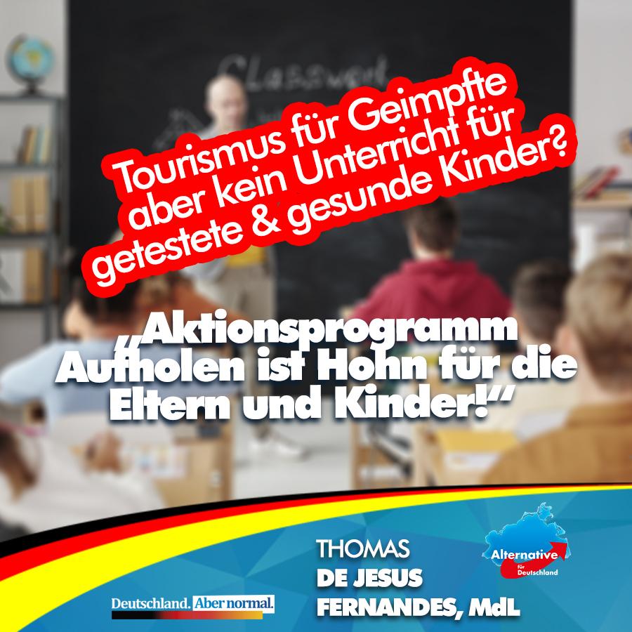 +++ Wir brauchen offene Schulen – Aktionsprogramm Aufholen ist keine echte Antwort auf die Sorgen & Nöte der Eltern und Kinder  +++