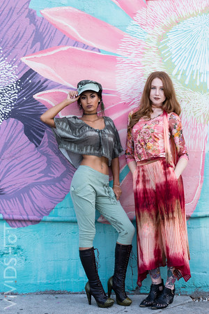 Coordinating the colors of these murals with the fashion make this photoshoot timeless.