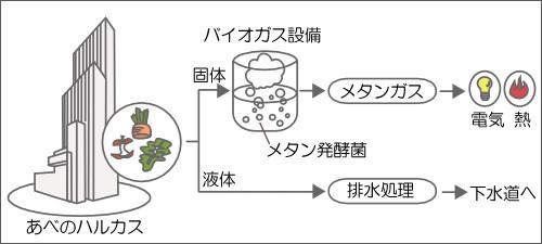 大阪のあべのハルカスでは、同ビルから排出される生ゴミをもとに、メタン発菌を使ってメタンガスを作っている。メタンガスはそのまま燃料として使えるほか、水素を取り出して燃料電池にも利用できる。おしゃれなビルの生ゴミとバイオリアクターによる発電という組み合わせがユニークだ。
