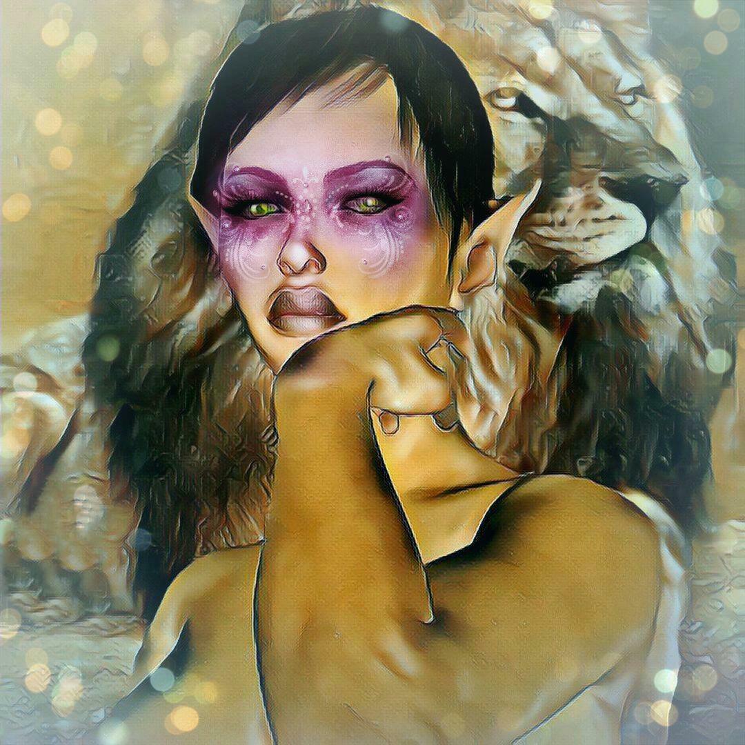 Kunstdruck auf Leinwand Elfe mit Löwe