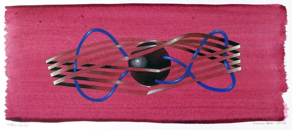 Mobius cósmico. Acuarela, acrílico y grafito s/tabla. 50x20. 2013