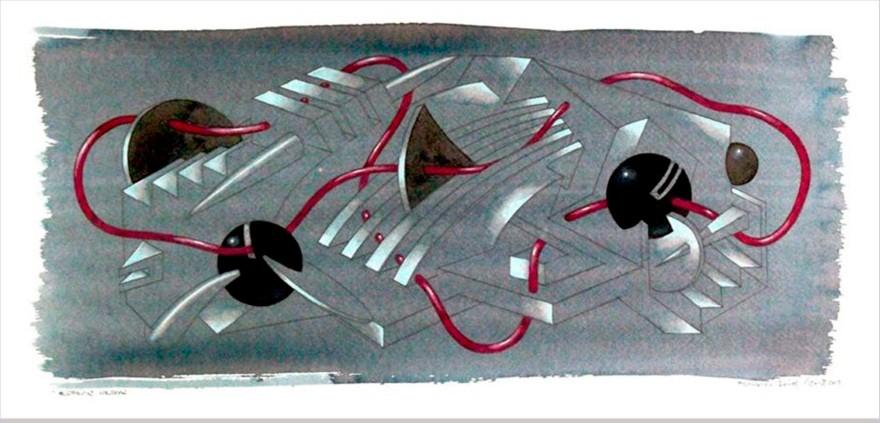 Esferas negras. Acuarela, acrílico y grafito s/tabla. 50x20. 2013