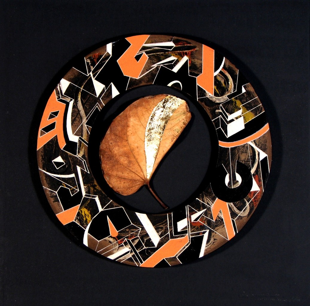 Ciudad Circular. Acrílico y esmalte con collage s/tabla. 43x43. 2011
