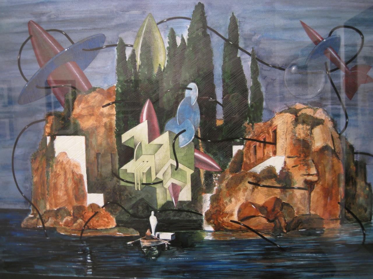 Isleta del Moro. Acrílico y grafito s/papel. 50x50. 2013