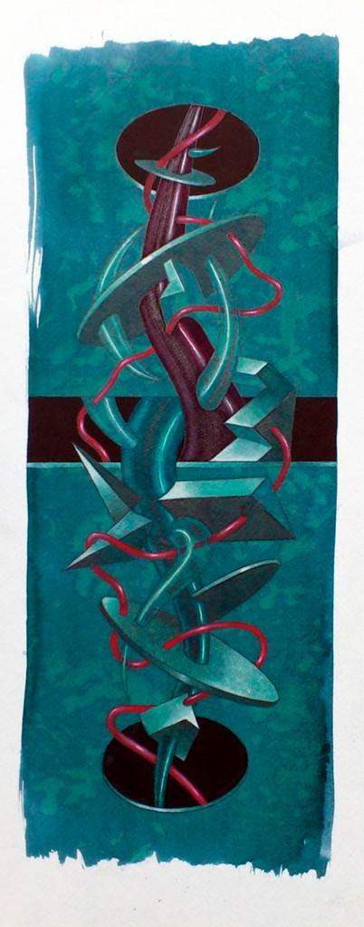 Negro horizontal. Acuarela y acrílico s/papel. 50x20. 2013